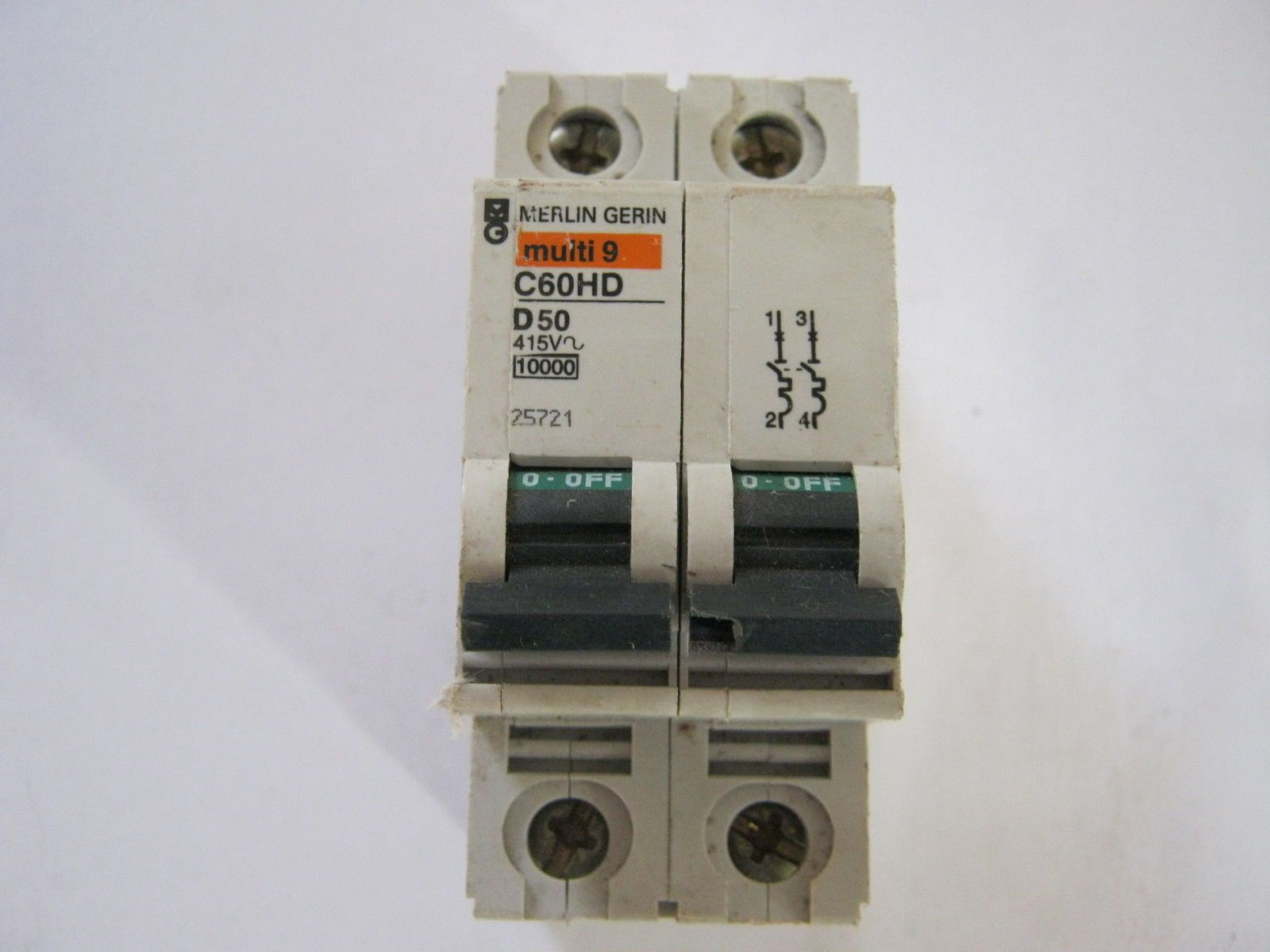 Merlin Gerin Multi 9 C60hd D50 415 V Double Pole Mcb 25721